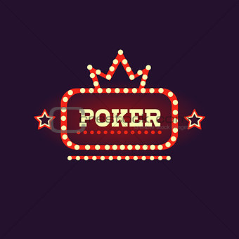 Crowned Poker Neon Sign