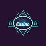 Bar Casino Blue Neon Sign