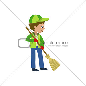 Boy With A Broom Outdoors