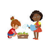 Girls Gardening Together