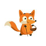 Fox Picking Berries And Mushrooms