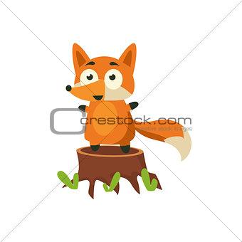Fox Standing On Stump
