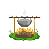 Food Preparing On Bonfire