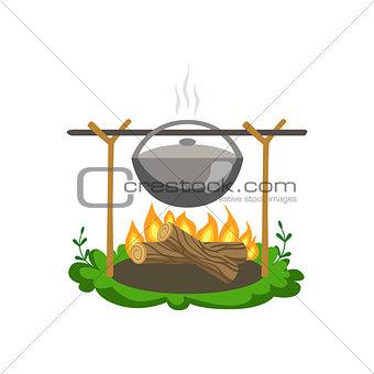 Food Preparing On Bonfire