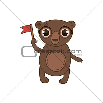 Toy Brown Bear With Flag
