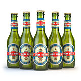 """Beer bottles with label """"cold beer"""" isolated on white"""