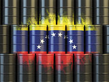 Oil fuel of Venezuela energy concept. Venezuelan flag painted on