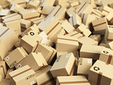 Warehouse or delivery concept background.Heap of cardboard deliv