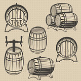 Vector set of barrels in vintage style