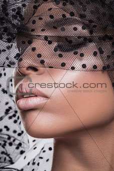 Beautiful american african girl posing with veil