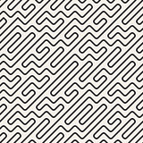 Vector Seamless Black And White Geometric Rounded Maze Lines Pattern