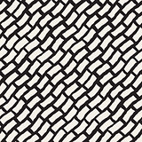 Vector Seamless Black And White Hand Drawn Diagonal Rectangles Pattern