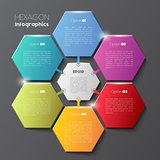 Geometric hexagon infographic concept