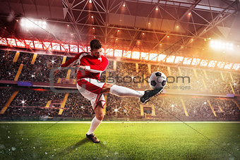 Football player at the stadium