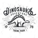 Vector dinosaur adventure logo concept. Stegosaurus theme park insignia design. Jurassic period illustration. Vintage T-shirt badge on grunge background