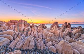 Ancient rock plain dawn coastline