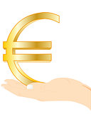 Sign euro in palm