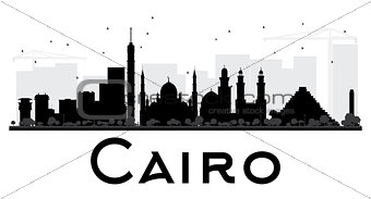 Cairo City skyline black and white silhouette.