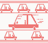 Red knitted car. Vector illustration.