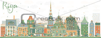 Abstract Riga Skyline with Color Landmarks.