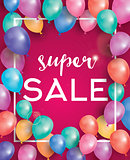 Super sale poster on red background with flying balloons