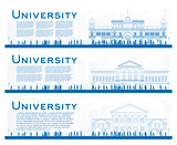 Outline set of university study banners. Vector illustration.