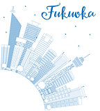 Outline Fukuoka Skyline with Blue Landmarks and Copy Space.