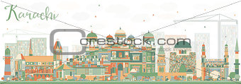 Abstract Karachi Skyline with Color Landmarks.