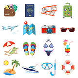 Vacation and Tourism Flat Icons Set