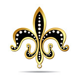Black fleur-de-lis with a gold rim