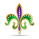 Golden, purple and green fleur-de-lis