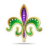Golden, purple and green fleur-de-lis