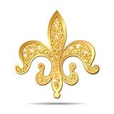 Golden fleur-de-lis heraldic symbol.