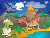 Night landscape with dinosaur theme 2