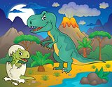 Night landscape with dinosaur theme 3