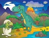 Night landscape with dinosaur theme 3