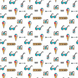Summer line art beach pattern