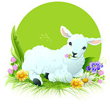 Eid al Adha. White lamb lying on grass