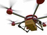 Red and gray hexacopter isolated on a white background. Shipping to home. Flying courier. 3d illustration.