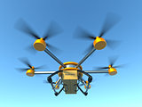 Yellow and gray hexacopter. Shipping to home. Flying courier. 3d illustration.