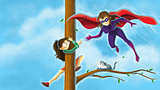 Superhero saving girl