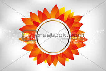 Abstract red flower label