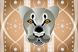 Lions face on abstract graphic background