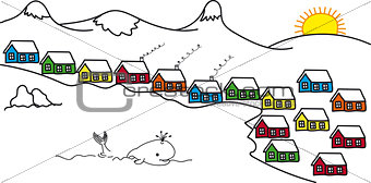 Sketch Iceland and colored houses, floating whale