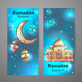 Mosque Ramadan Kareem and crescent moon vertical banners