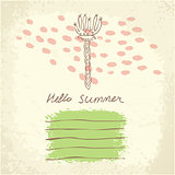 Vector hand drawn floral template universal card