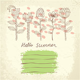 Vector hand drawn floral template card