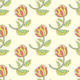 Vector hand drawn floral seamless pattern