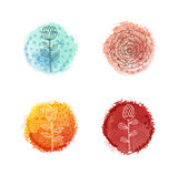 Vector watercolor round spots with hand drawn