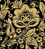 Vector Gold glittering Khokhloma seamless pattern